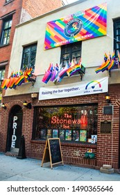 NEW YORK CITY - AUGUST 24, 2019:  Historic Stonewall Inn gay bar in Greenwich Village Lower Manhattan