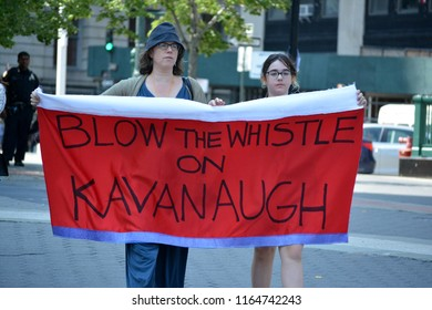 New York City, August 26, 2018 - People protesting the Supreme Court nominee Brett Kavanaugh at a rally in Foley Square in Lower Manhattan.