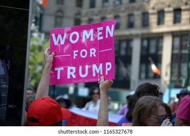 New York City, August 26, 2018 - Pro Trump protester at a rally against Supreme Court nominee Brett Kavanaugh in Lower Manhattan.