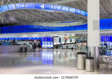 NEW YORK CITY - August 26, 2015: The JetBlue terminal at John Fitzgerald Kennedy JFK International Airport