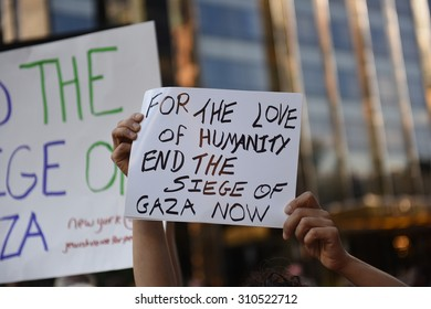 NEW YORK CITY - AUGUST 26 2015: members of Jewish Voice for Peace staged a rally on the Upper West Side & march to Columbus Circle to call for an end to the Israeli blockade of Gaza