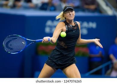 NEW YORK CITY,  - AUGUST 28 : Maria Sharapova of Russia at the 2017 US Open Grand Slam tennis tournament