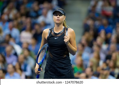 NEW YORK CITY,  - AUGUST 28 : Maria Sharapova of Russia at the 2017 US Open Grand Slam tennis tournament