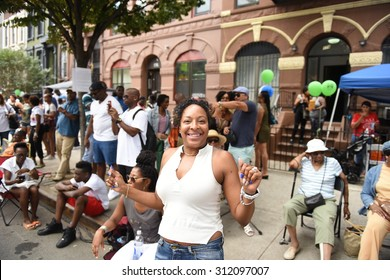 """NEW YORK CITY - AUGUST 29 2105:  Spike Lee & his production company staged a  party on Stuyvesant Ave in Bed-Stuy to celebrate the renaming of the block for his classic film """"Do The Right Thing."""""""