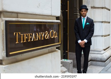 NEW YORK CITY - AUGUST  3, 2014: View of Tiffany & Co. Building on Wall Street in the Financial District in Manhattan. Tiffany's is a luxury American multinational jewelry and silverware corporation.