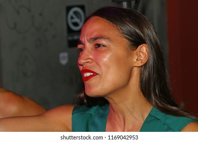 NEW YORK CITY - AUGUST 30 2018: NYS senatorial candidate Julia Salazar was joined by Democratic primary winner Alexandra Ocasio-Cortez in Bushwick to honor campaign workers who canvassed on her behalf