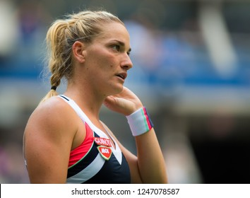 NEW YORK CITY,  - AUGUST 30 : Timea Babos of Hungary at the 2017 US Open Grand Slam tennis tournament