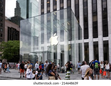 NEW YORK CITY - AUGUST 30: The Apple Store cube on 5th Avenue New York, on August 30th, 2014.the store is designed as the exterior glass box above the underground display room.