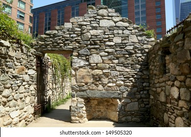 NEW YORK CITY -AUGUST 6: The cottage of Carradoogan ruins at the NYC Irish Hunger Memorial  on August 6, 2013. The memorial on is dedicated to raising awareness of the Great Irish Famine of 1845-1852