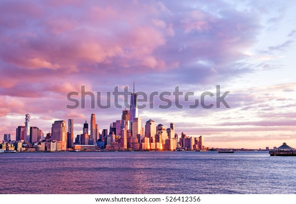 New York City - beautiful colorful sunset over manhattan