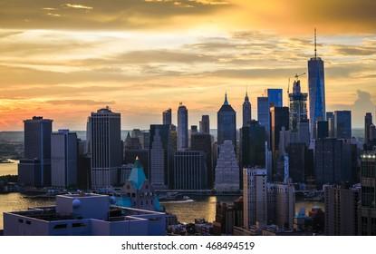 New York City - beautiful sunset over Manhattan downtown