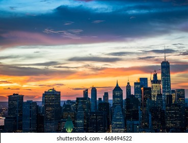 New York City - beautiful sunset over Manhattan downtown