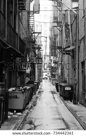 New York City Black White Alley Stockfoto Jetzt Bearbeiten