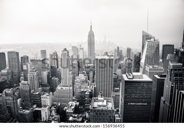 New York city in black and white mural