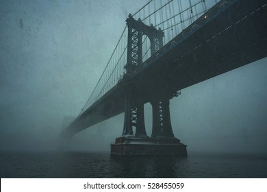 New York City Blizzard. Manhattan bridge