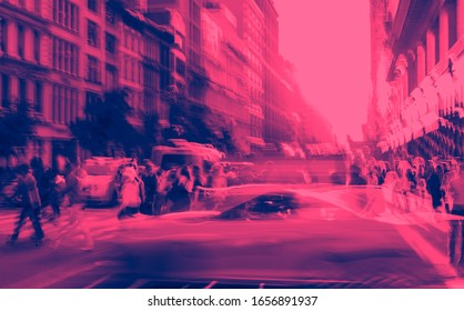 New York City blurred abstract street scene with people and taxis in Midtown Manhattan NYC in pink and blue color effect