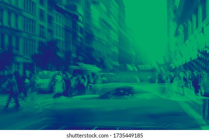 New York City blurred abstract street scene with people and taxis in Midtown Manhattan NYC in green and blue color effect