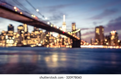 New York city blurred image from the Brooklyn bridge. artistic view of New york