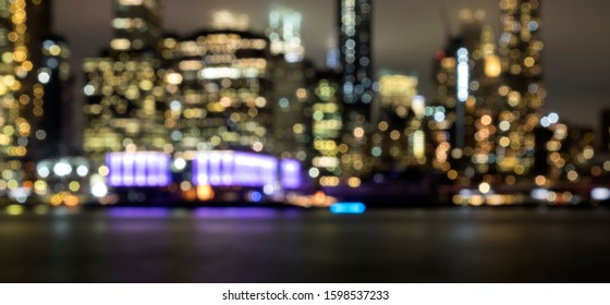 New York City blurry view from Brooklyn