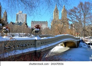 New York City bow bridge in the winter, Central Park, Manhattan, New York City, USA.