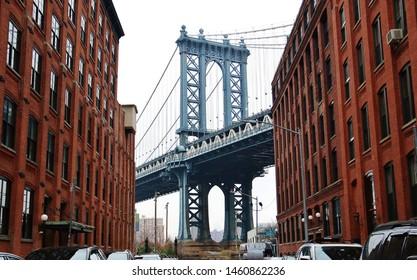 New York city bridge and buildings