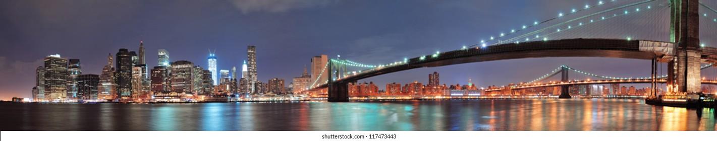 New York City Brooklyn Bridge panorama with downtown skyline