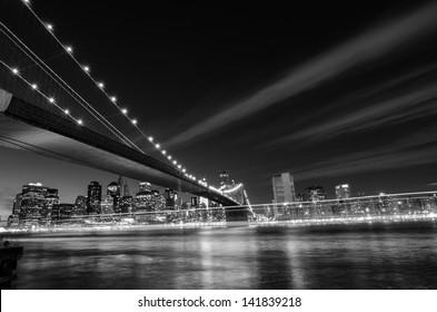 New York City, Brooklyn Bridge at night - New York, United States - Black and White toned