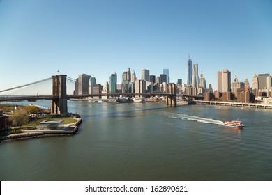 New York City Brooklyn Bridge and downtown buildings skyline