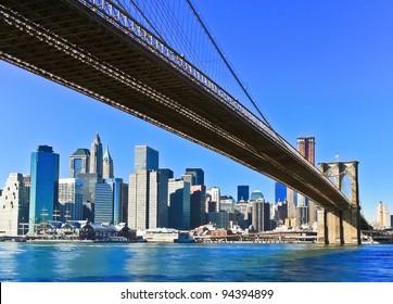 New York City Brooklyn Bridge and Manhattan skyline