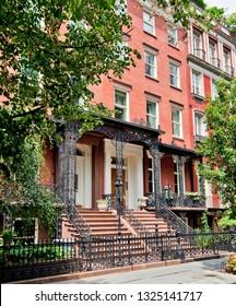 New York City brownstone apartment buildings