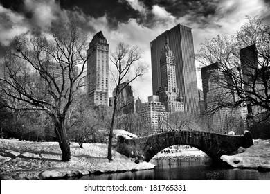 New York City - Central Park in winter -Gapstow bridge