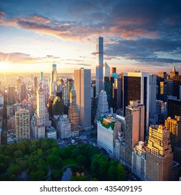 New York City Central Park at sunrise - Manhattan aerial photo