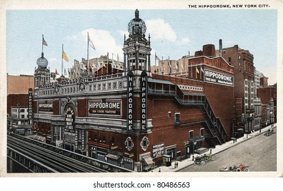NEW YORK CITY – CIRCA 1912: Vintage postcard depicting The Hippodrome, built in 1905 & demolished in 1939 after its decline & fall, New York City, USA, circa 1912.