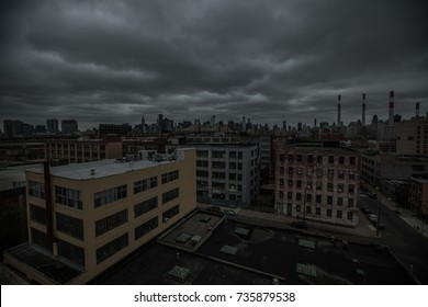 New York City - Circa 2012: Manhattan streets view from rooftop in the beginning of a storm. Superstorm Sandy was the most destructive hurricane of the 2012 Atlantic hurricane season.