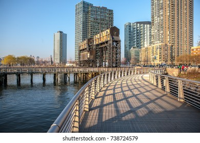 New York City - Circa 2012: Famous Long Island City boardwalk in Queens.