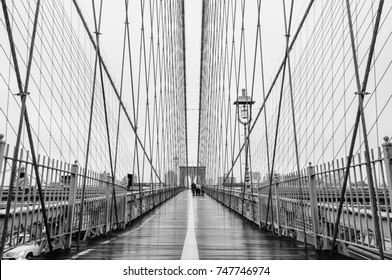 New York City - Circa 2012: Brooklyn bridge slings close up photograph in black and white. Bridge opening ceremony took place in May 24, 1883.
