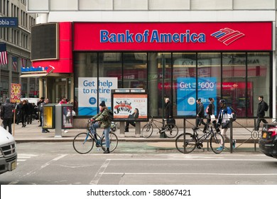 New York City - Circa 2017: Bank of America branch retail location in Manhattan. Photographed during the day time. People use financial and money accounts for savings and investments. Direct deposit