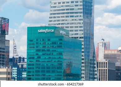 New York City, Circa 2017: Salesforce building in midtown Manhattan. Cloud based CRM customer relationship management platform