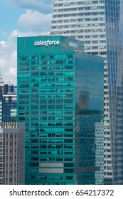 New York City, Circa 2017: Salesforce building green window facade in midtown Manhattan NYC. White sign replace Metlife