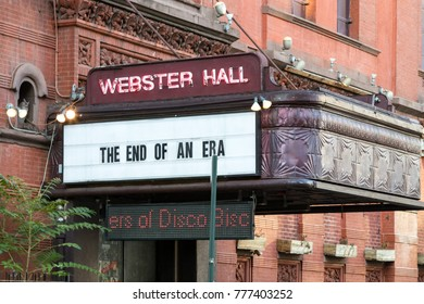 NEW YORK CITY - CIRCA 2017: Webster Hall displays a message on their sign announcing the end of an era with their closing on August 9th, 2017 in the East Village of Manhattan in New York City.