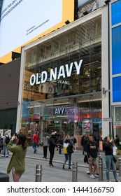 New York City, Circa 2019: Old Navy clothing and accessory retail flagship store location in Times Square manhattan.