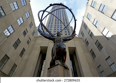 NEW YORK CITY. CIRCA APRIL 2015. Kneeling Bronze Statue of Ancient Greek Titan Atlas in Rockefeller Center conveys strength and power and is a top tourist location in Manhattan, New York.