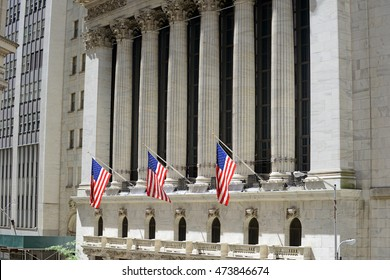 NEW YORK CITY - CIRCA AUGUST 2016. Known as a symbol of capitalism and prosperity, The New York Stock Exchange is also popular tourist attraction located in downtown Manhattan.