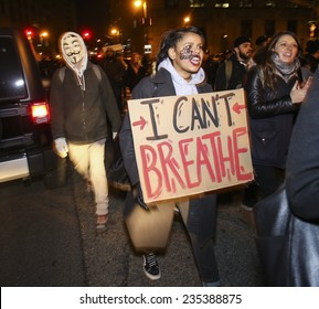 NEW YORK CITY - CIRCA DEC 2014: thousands of demonstrators filled Manhattan streets on the second day of protest against the lack of charges in the death of Eric Garner