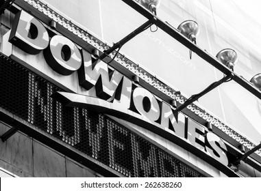 New York City circa dec 2014:  Dow jones logo in famous times square in Manhattan
