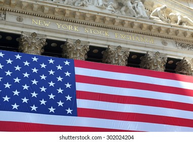 NEW YORK CITY - CIRCA JULY 2015. Known as a symbol of capitalism and prosperity, The New York Stock Exchange is also popular tourist attraction located in downtown Manhattan.