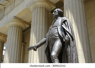 NEW YORK CITY - CIRCA JULY 2015. Statue of George Washington at Federal Hall in NYC marking where Washingtonâ??s inauguration took place which remains a popular tourist attraction in Manhattan.