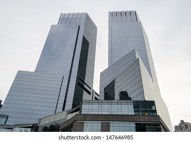 NEW YORK CITY - CIRCA MAY 2013 : The Time Warner Center in New York, circa May 2013. It is a pair of interconnected mixed-use skyscrapers and consists of 2 twin towers bridged by a multi-story atrium