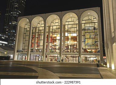 NEW YORK CITY - CIRCA OCTOBER 2014. People attend evening event at Lincoln Center, which is world renowned as a leader in the performing arts, hosting many of the best artists in its venues.
