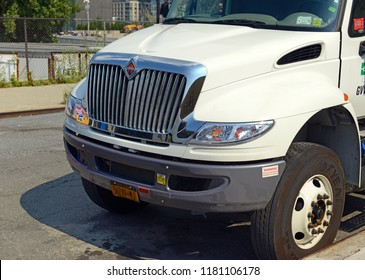 NEW YORK CITY CIRCA SEPTEMBER 2018. Commercial truck on road, an industry that due to a nationwide truck driver shortage is considering a controversial plan to lower the driving age to help fill jobs
